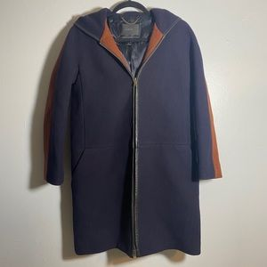J Crew Stadium Cloth Wool Two Tone Hooded Zip Coat